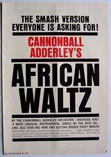 CANNONBALL ADDERLEY 1961 vintage POSTER ADVERT AFRICAN WALTZ