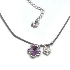Swarovski Swan Signed Flower Light Purple Crystal Flower Necklace Nib 620