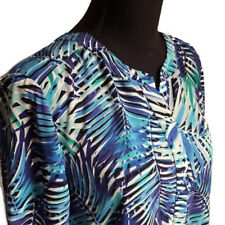 NYDJ Womens Shirt Petite Small Blue Green Tropical Leaves Sheer Tunic