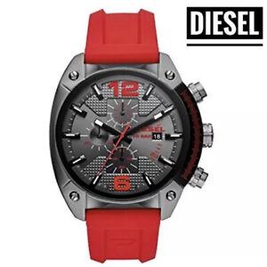NWT Diesel men chronograph Quartz Watch Silicone Red band