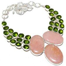 "Rose Quartz, Peridot Gemstone Ethnic .925 Silver Jewelry Necklace 18"" MR-33"