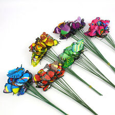 10pcs Butterflies On Sticks Plant Flower Pot Vase Garden Ornaments Decor yon