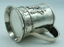 More details for hammered solid silver mug / neoclassical mother & child christening cup