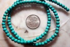 Treated Blue green chalk turquoise 4mm round shaped beads 16 inch  BS285