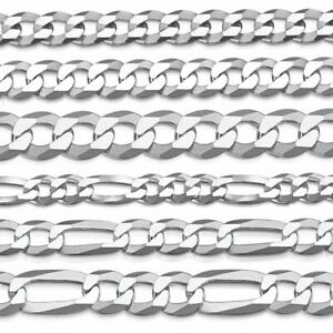 Amberta 925 Sterling Silver Super Flat Curb and Figaro Chain Necklace for Men