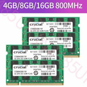 For Crucial 16GB 8GB 4GB 2GB 1GB PC2-6400 DDR2-800MHz 200Pin Notebook RAM Lot UK