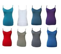 New Ex M*S Ladies Stretchy Cotton White Grey Blue Red Cami Vest Top 8 10 12 14