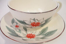 Rhythm by Homer Laughlin Red Green White Holiday Teacup & Saucer USA L55N5 China