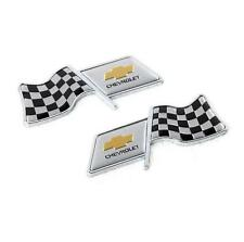 2x Universal Car Fender Sticker Emblems Decoration F1 Flag Logo For Chevrolet