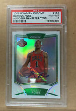 2008/09 BOWMAN CHROME DERRICK ROSE AUTO- REFRACTOR #33/50  RC #151 PSA NM-MT 8