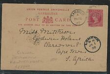 MOROCCO TANGIER (P2706B) 1898 GIBRALTAR QV 10C PSC FROM MOROCCO TO SOUTH AFRICA