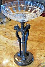 Contemporary Cut Crystal Compote Bowl Bronze Metal Base of 3 Jaguars Stunning!