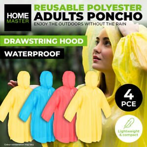 Home Master® 4PK Poncho Adult Coloured Lightweight Quick Dry Drawstring Hood