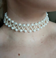 Pearl & seed Beaded CHOKER necklace VINTAGE style WHITE glass 13""
