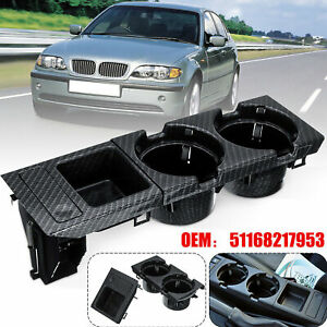Carbon Fiber Center Console Cup Drink Holder Coin Box For BMW 3 Series E46