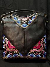 Chinese embroidery black leather handbag messenger floral tribal ethnic vintage