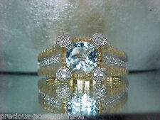 $3,290 GORGEOUS SPARKLE! 14K SHOPNBC FANCY CUSHION CUT AQUAMARINE DIAMOND RING
