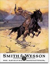 Smith & Wesson Revolver Pistol Gun Metal Sign Tin New Vintage Style USA  #1876