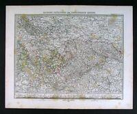 1876 Stieler Map Germany Sachsen Thuringen Black Forest