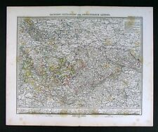 1876 Stieler Map Germany Sachsen Thuringen Black Forest
