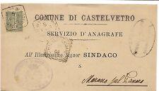 P3307    Regno  bollo quadrato Castelvetro (Modena9 per Marano sul Panaro 1896