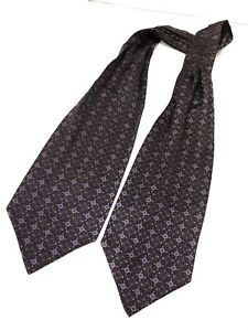 Authentic Ascot BORSALINO Flowers Design On Purple 100% Silk Ascot Big Tie