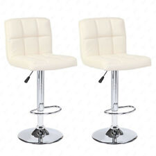 Modern Design Set Of 2 Bar Stools Leather Adjule Swivel Pub Chair In Cream