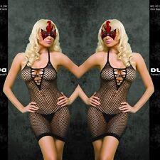 Sexy Black DUPU Fishnet Halter Neck Criss Cros Body Stocking Dress One Size 8113