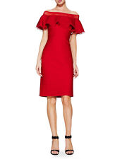 NWT Tadashi Shoji Tabora Solid Off Shoulder Dress Deep Red Size L 10 12