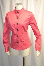 Charter Club HOT Pink stretch Cotton Twil Button Up Spring Jacket Size M Stretch