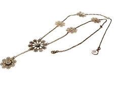 Bijou collier sautoir rosaces rehaussées de strass alliage argenté  GAS necklace