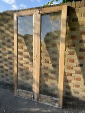 Reclaimed Old French Single Panel Glass Wooden Double Doors 1980 x 1170mm