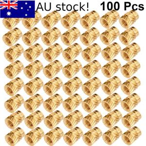 100Pcs M3 Metric Threaded Round Brass Knurl Thread Insert Nuts AU stock