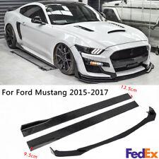 "Front Bumper Lip Body Kit+78.7"" Side Skirts For Ford Mustang 2009-21 Gloss Black"