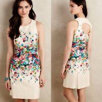 Maeve Anthropologie Tea Garden Cream Watercolor Floral Dress Size 4 Sheath