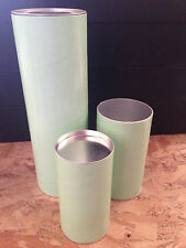 25 x Packaging Tubes Tub Container Foil Lined Green Silver Metal Lid 99x300mm