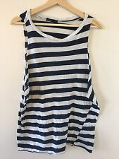 BASSIKE Blue White Wide Stripe Muscle with Twisted Seam Top Size S