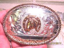 SOLID STERILNG SILVER Trophy Belt Buckle Hand Engvd USA Belt Buckle MAKE OFFER