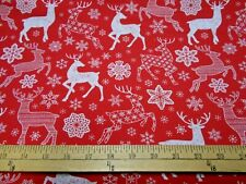 1 yard Reindeer and Snowflakes on Red Christmas  Fabric