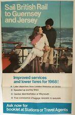 Large Vintage 1968 British Rail Poster - Sail British Rail to Guernsey & Jersey
