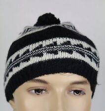 Ralph Lauren Womens Black Cream Wool Beanie Hat NWT