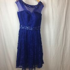 Homecoming Lace Dress Sequins Formal evening home made sheer top A Line Sz 14/16
