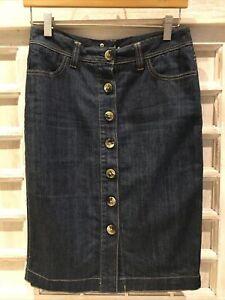 Boden Women's Denim StretchPencil Skirt Button Down Sz US 4 UK 8