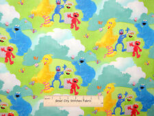 Sesame Street Character Elmo Cookie Bird Oscar Scenic Cotton Fabric SPX - YARD