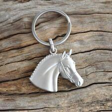 Horse Head Keyring / Equestrian Key Ring - Matte Silver