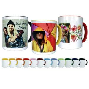 Foto auf Tasse drucken, Fototasse - Farbiger Innenteil mit Bild und Wunsch Text