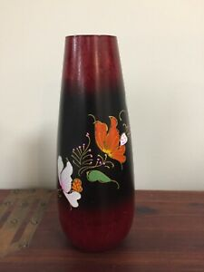 """10"""" Mango wood vase from Costa Rica - painted tropical flowers - NEW with tag"""