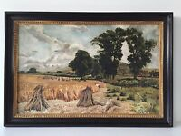 Vintage Original Oil Painting, Unsigned - Landscape, Countryside Wheat Harvest
