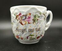 Vintage Forget Me Not Mustache Tea Cup Embossed Made in Germany