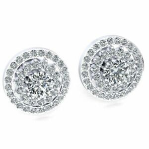 Genuine 1ct Round Cut Diamond Ladies Double Halo Studs Earrings 14K Gold